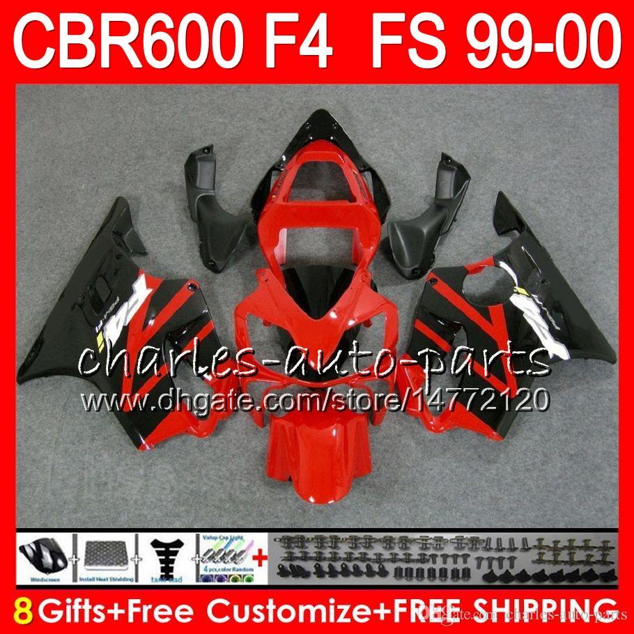 8 선물 23 혼다 차체 용 혼다 CBR 600 F4 99-00 CBR600FS FS 30HM17 레드 블랙 CBR600 F4 1999 2000 CBR 600F4 CBR600F4 99 00 페어링 키트