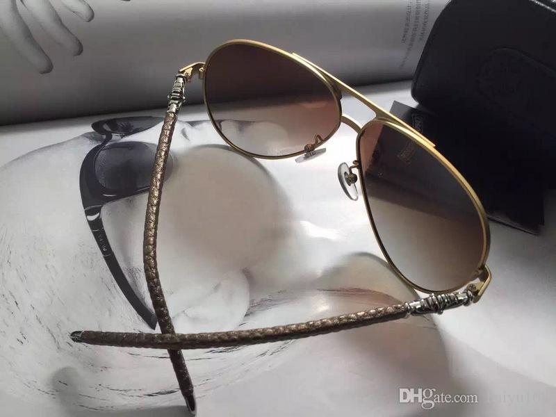Con suela caja UV hombres nuevos lentes de cuero gris gafas de sol protección de caja negro gafas de sol piloto occhiali da benxc csrvt