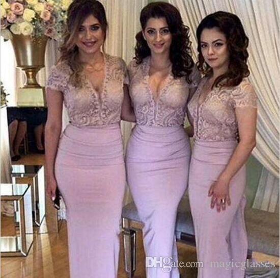 Nuovo arrivo Blush abiti da damigella d'onore in pizzo con scollo a V maniche corte abiti da festa di promenade lungo guaina chiffon abiti da sposa abiti da sera