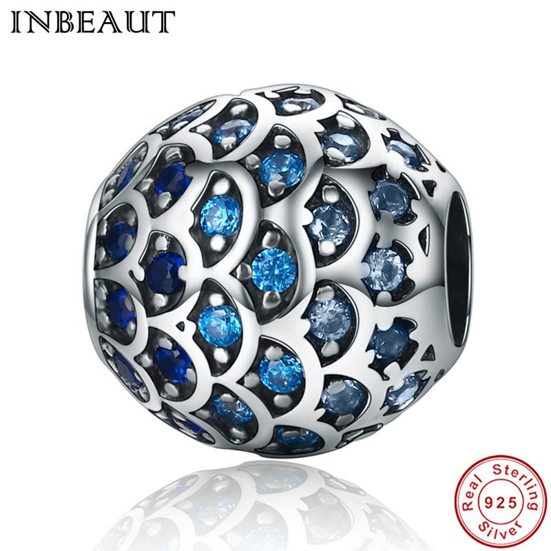 INBEAUT Authentic 925 Sterling Silver Daughter Of Sea Gradual Change Blue Fish Scales Beads Fit Pandora Bracelet Jewelry Gift
