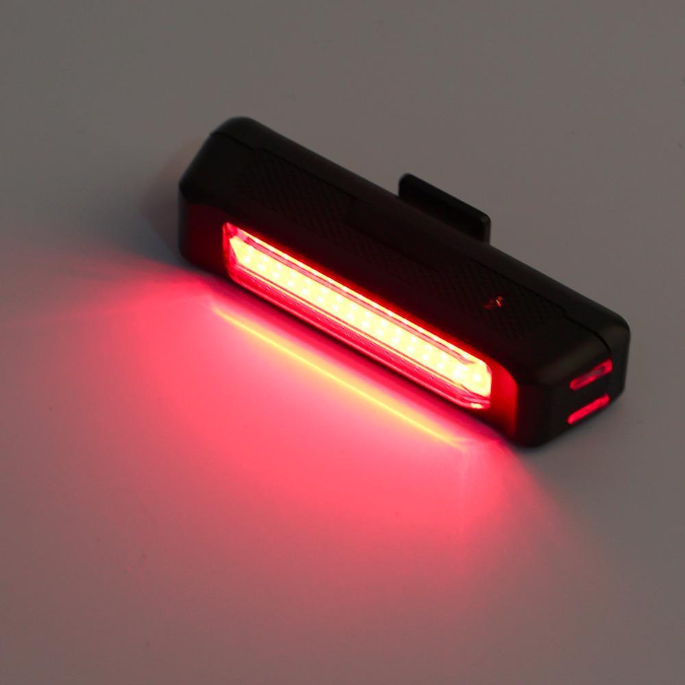 Nuevo USB recargable bicicleta luz de bicicleta trasera trasera seguridad cola luz roja