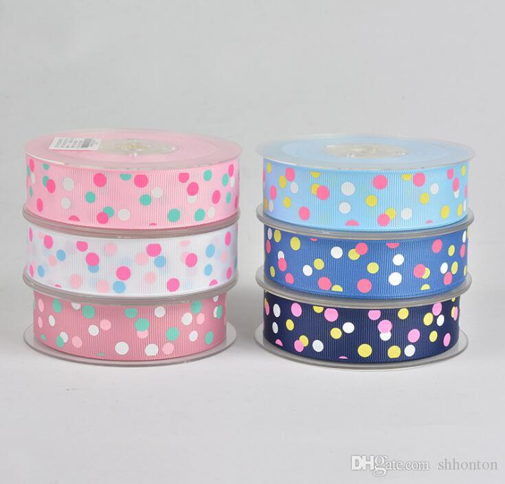 DIY decoration ribbons 25mm wide and 100 yards per roll Printing color with dots Very good quality free shipping WT059