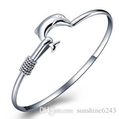 20pcs/lot hot gift factory price 925 silver charm bangle Fine Noble mesh Dolphin bracelet fashion jewelry
