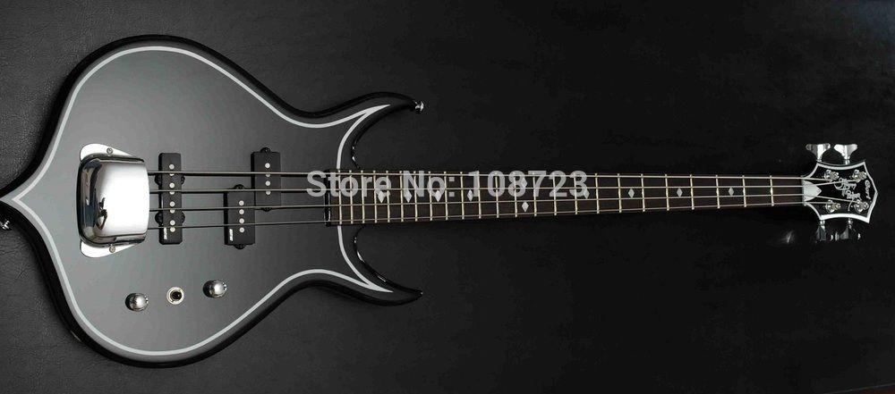 Raro Chitarra elettrica Gene Simmons Punisher 4 corde nero basso elettrico chitarra manico in acero manico in palissandro