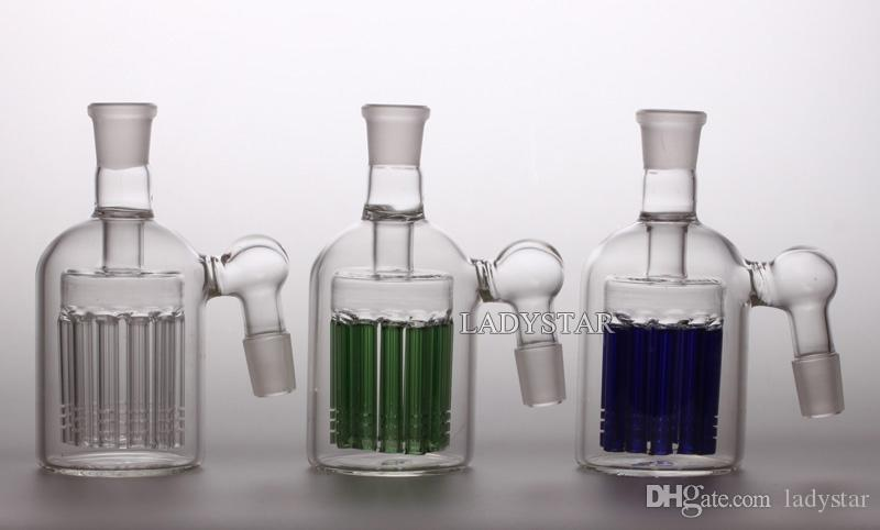 Ash Catcher 11 Armed Wide Tree Perc Glass Ashcatcher Clear Green Blue Percolator 18mm Joint Bong WaterPipes Smoking Accessories L193C