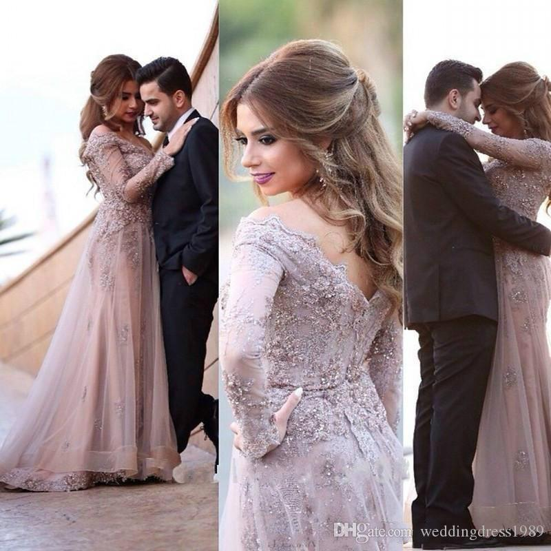 Exquisite Dubai Kaftan Lace Crystal Beaded Plus Size Evening Dresses Long Sleeves Arabic Prom Party Gown Muslim Women Gowns Formal Wear