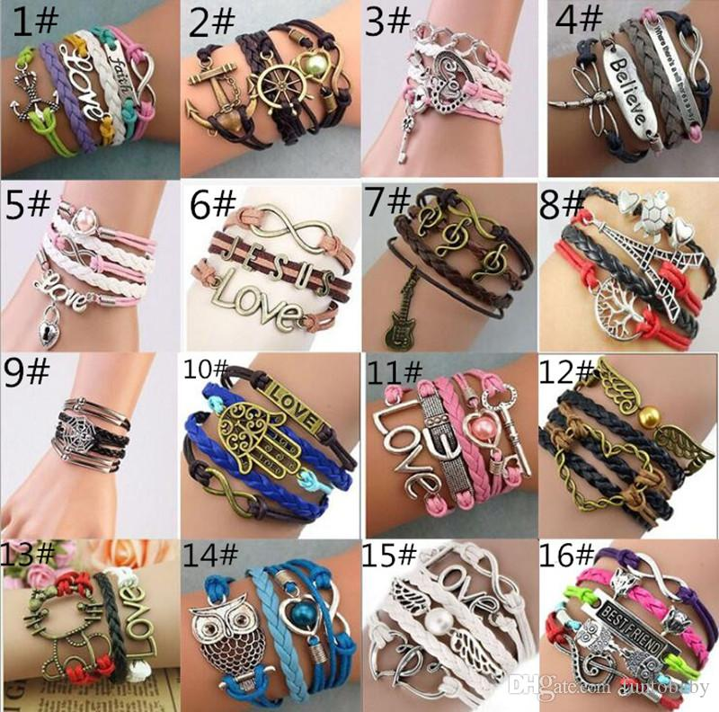 Gros Infinity Bracelets Bijoux De Mode Antique Bracelet En Cuir Vintage Designs Accessoires Croix Amour Coeur De Pêche Chouette Oiseau Charme