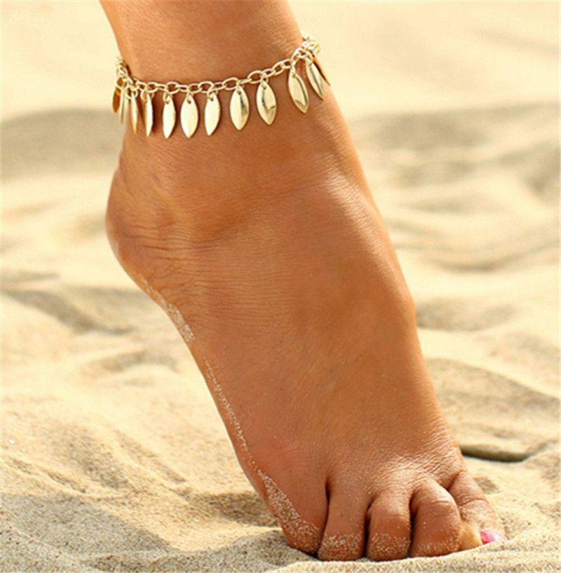 2017 골드 플리 티드 잎 비즈 팔찌 여성을위한 Anklets 수제 Bijoux 비치 펜던트 발목 팔찌 긴 발 체인 웨딩 쥬얼리 선물