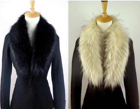 Gros-hiver fourrure de renard collier de fourrure de raton laveur col 83cm manteau long col décoration bricolage