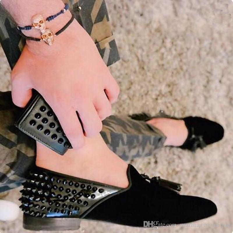 Hakiki deri Leopar Siyah Spike Erkek Loafer'lar Ayakkabı Rahat Daireler üzerinde Kayma Düğün Ayakkabı Perçinler Gerçek Pics Sapatos Boyutu 38-46