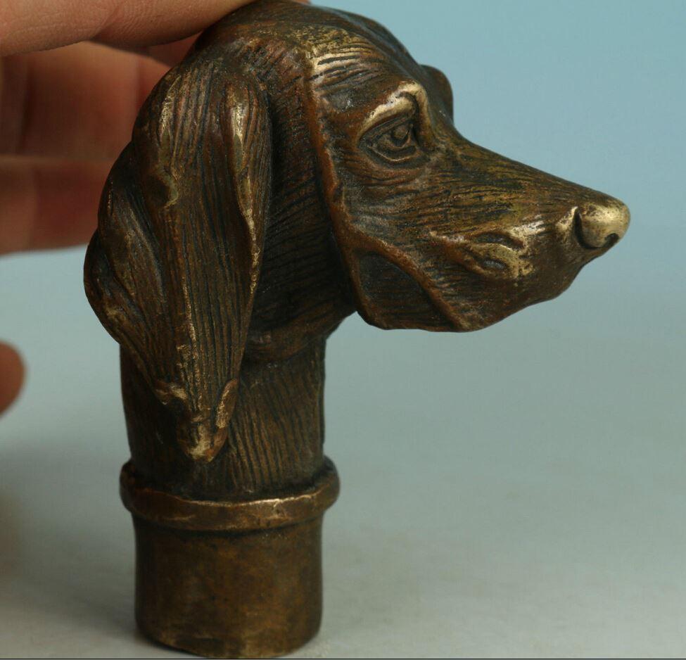 ZSR 527 + + + + + + Vahşi Çin Eski Bronz El Oyma Köpek Heykeli Baston Kafa Koleksiyonu