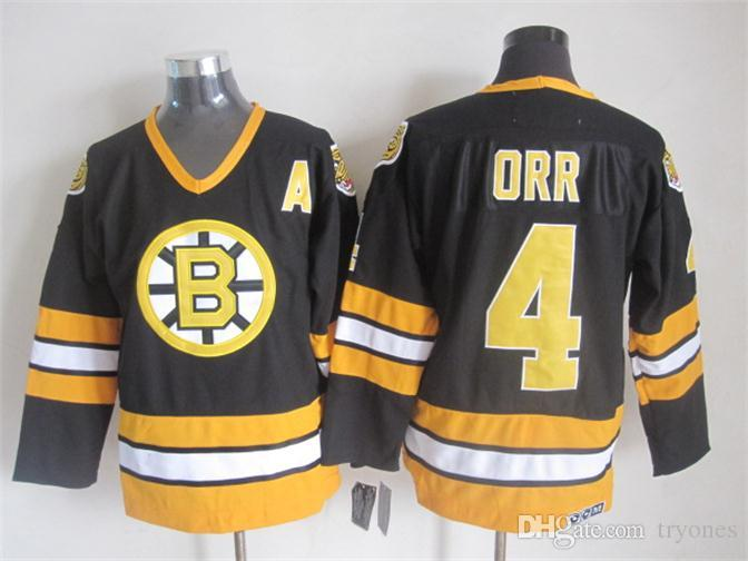 Throwback Boston Bruins Bobby Orr Hockey Jerseys CCM Vintage 4 Bobby Orr  Jersey 9ec5521c1