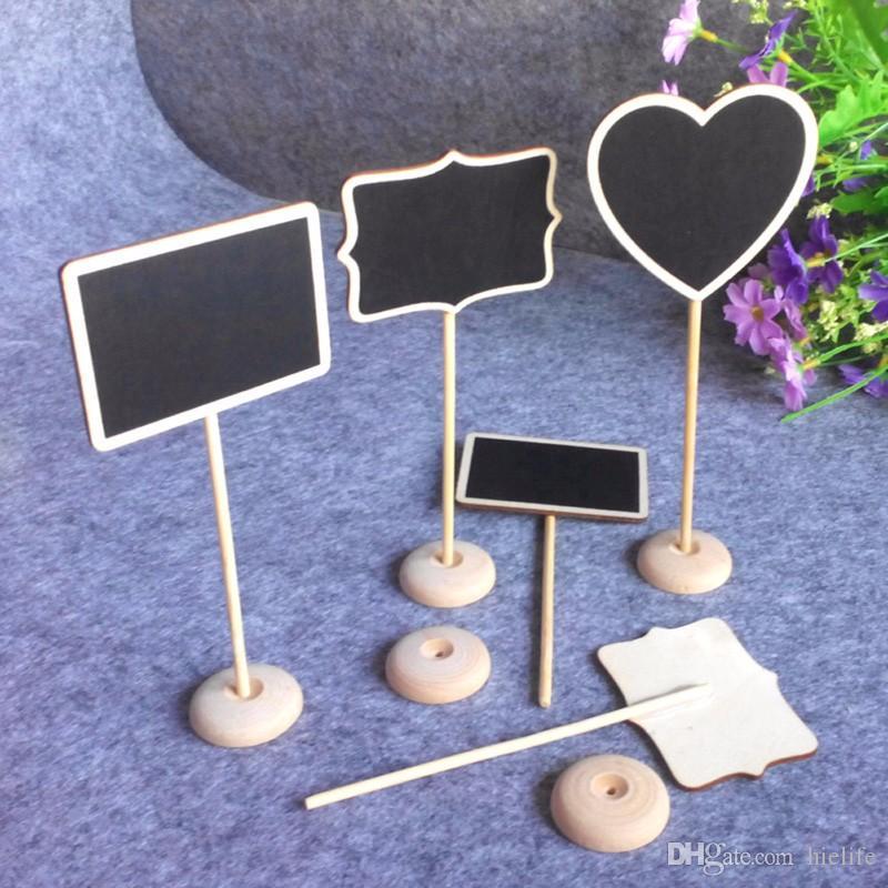 100 pçs / lote 4 tipo retângulo coração forma quadros negros mensagem número tag de lousa de madeira encosto de casamento decoração festa de fornecimento