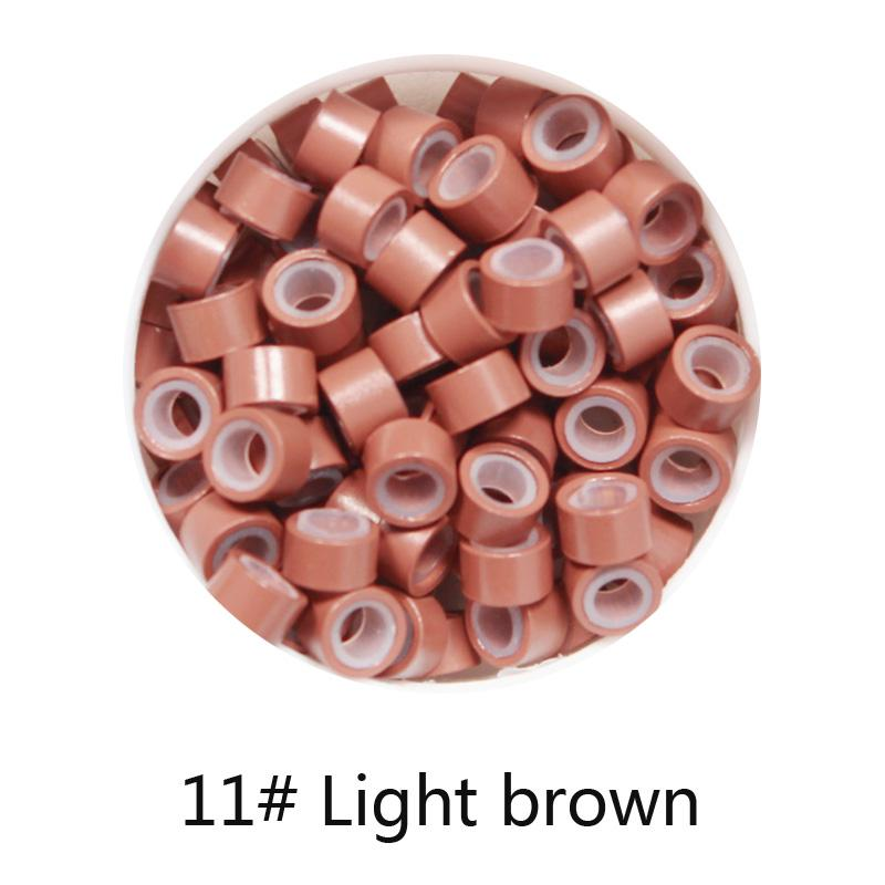Wholesale-1000pcs 11# Light Brown 5mm*3mm*3mm Silicone Micro Ring/Links/Beads for i tip hair extension tube