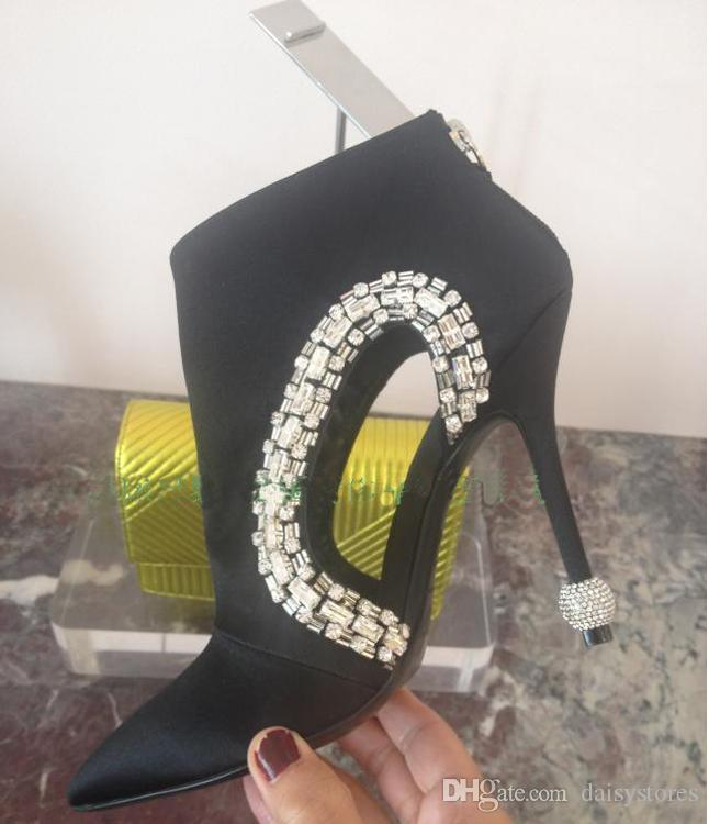 Rhinestone Ball Heels Pointy Toe Sexy Ankle Boots Black Suede Crystal Dress Shoes Pumps High Heels Cut-outs Fashion Boots Shoes