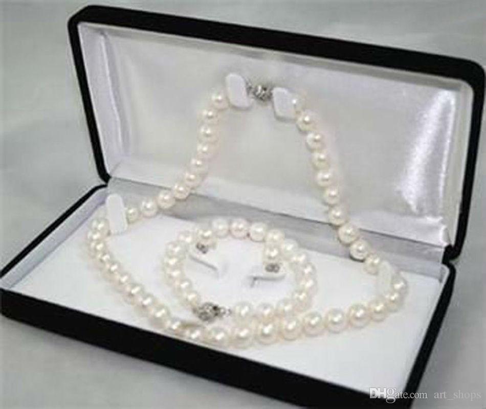 8-9mm Véritable Naturel Blanc Akoya Bracelet Perle Collier Boucles D'oreilles Ensemble