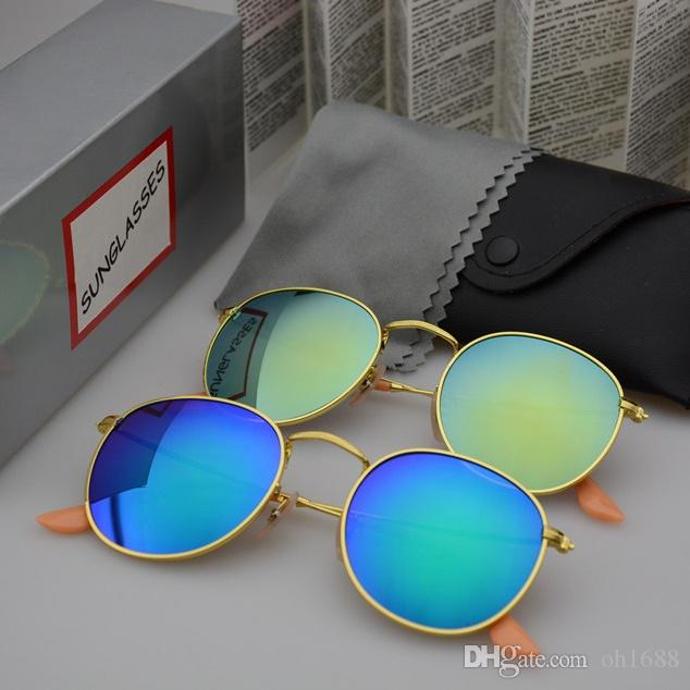 Moda de alta Qualidade Rodada Óculos De Sol Dos Homens Das Mulheres Designer de Marca Óculos de Sol Armação de Metal UV400 Lentes Melhor com casos e caixa