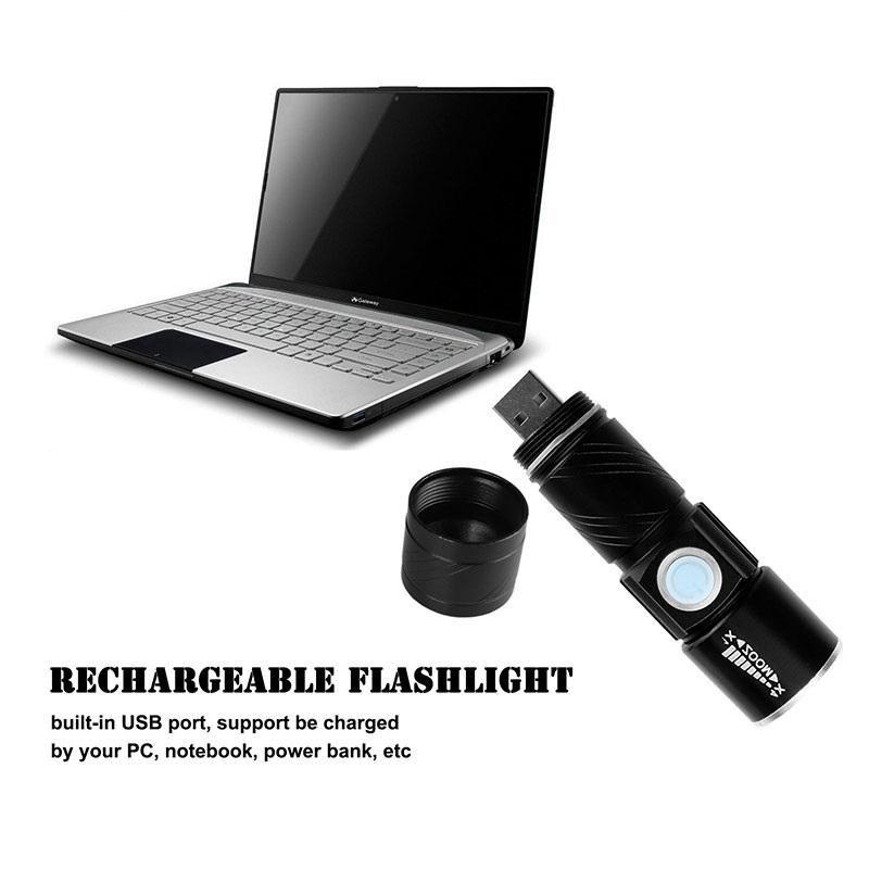 2017 3 modalità tattica Flash Light Torch Mini Zoom ricaricabile USB potente torcia a LED AC Lanterna per viaggi all'aperto