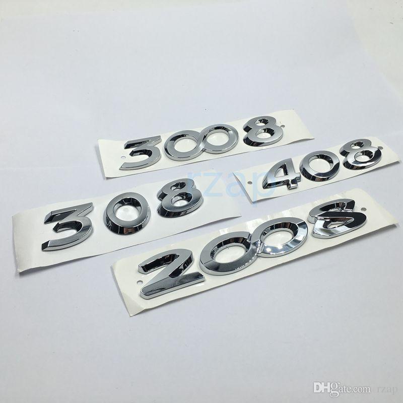 Argent 3D Chrome Sticker pour Peugeot 2008 3008 308 408 lettres Badge Emblem Logo arrière de voiture coffre Decal