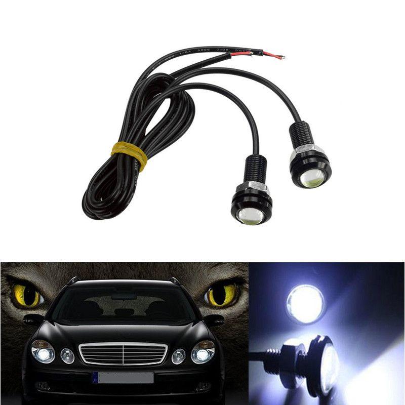 10PCS 18MM 23MM LED Mini Aigle Parking Eye jour Conduite Feu arrière secours DRL lampe de brouillard Boulon sur Vis éclairage Agle lampe yeux