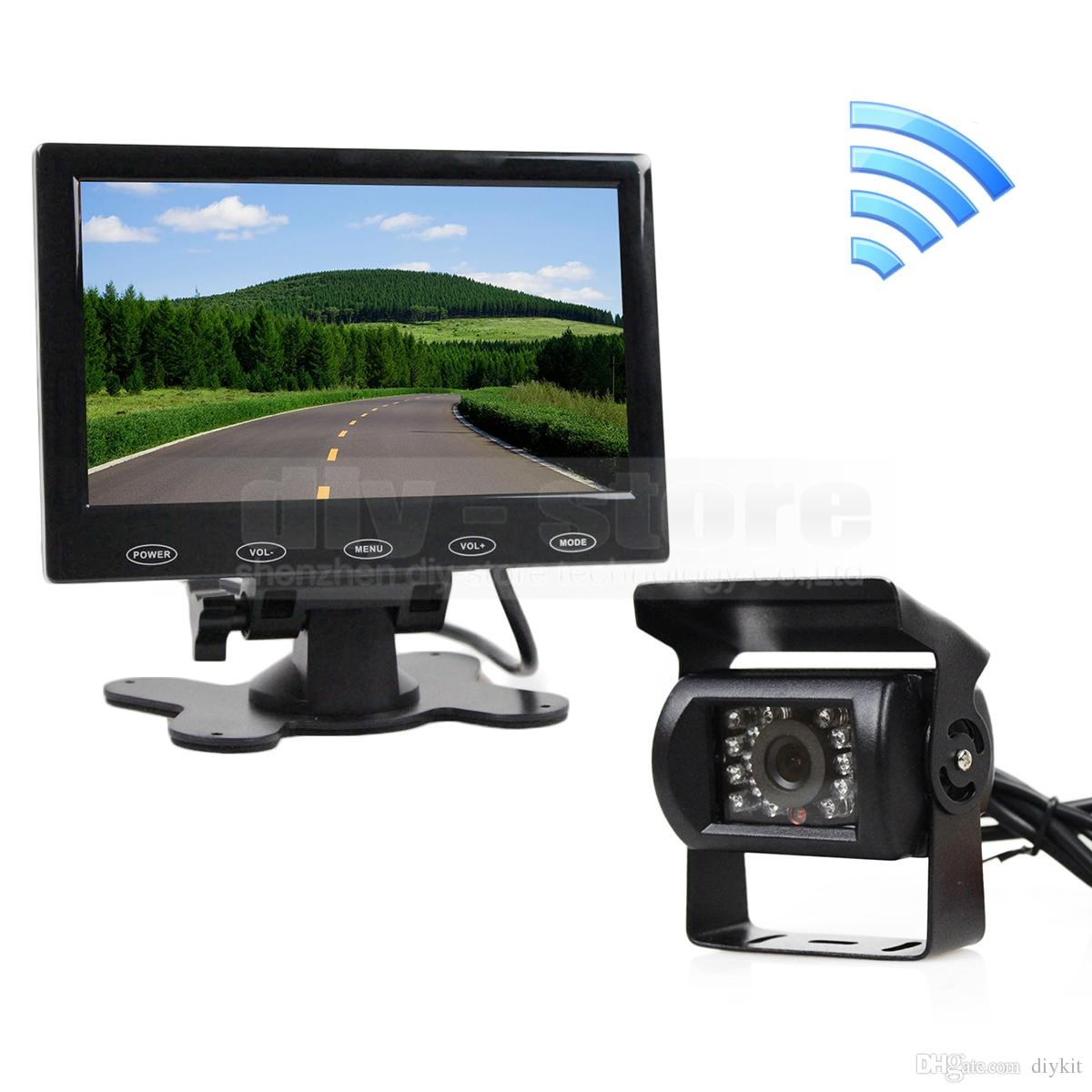 12V Wireless Rear View Kit 7 inch Touch Car Monitor Backup IR Night Vision Waterproof CCD Car Camera Packing System Kit