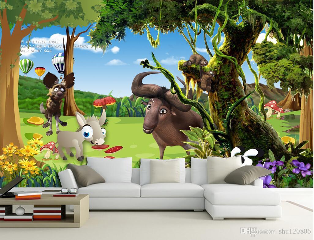 Acheter Fond D écran 3d Personnalisé Peinture Murale Forêt De Dessin Animé Frais Fond Enfants Salon Peinture Peinture 3d Peintures Murales De Papier