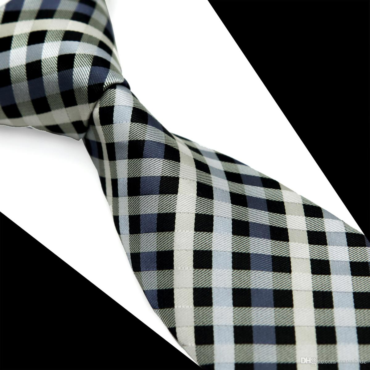 T088 شحن مجاني رجل ربطة العنق فحص المشارب رمادي رمادي أبيض 100٪ الحرير الجاكار المنسوجة جديد عارضة الأعمال الرسمي الجملة