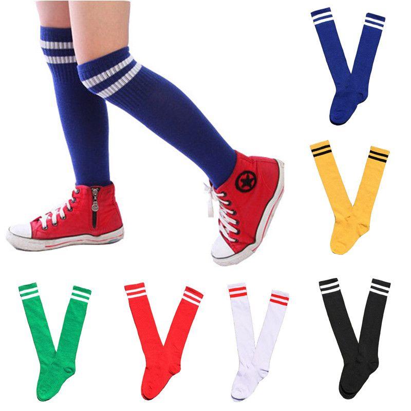 Neue Kinder Kniestrümpfe Baumwolle Lange Schüler Schule Socken Mädchen Jungen Fußball Gestreift 2 Retro Old School Sport Socken Fußball Hockey