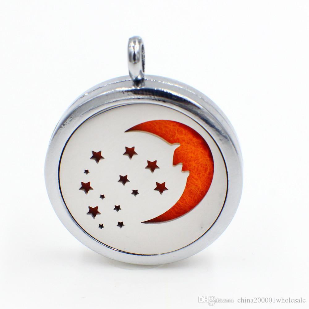 Moon Star profumo magnetico Aromaterapia olio essenziale diffusore Locket galleggiante pendente del Locket (feltrini in modo casuale liberamente) XX140