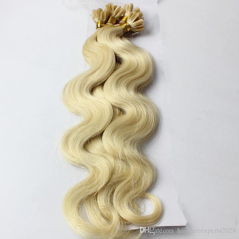 Nail / U Tip # 613 Brésilien Remy Hair Platinum Blonde Corps Ondulés Micro Bead Loop Ring Extensions de Cheveux 0.8g / s 200pcs / lot