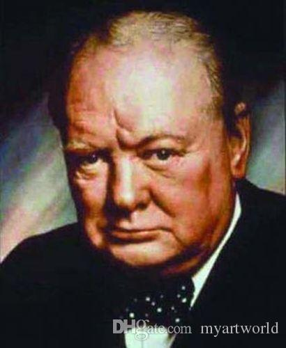 Sir Winston Churchill in Black Suit World War 2 British, Handpainted &HD Print Figure Portrait Art oil Painting On Thick Canvas Multi Size