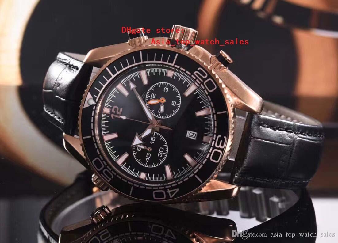 la última versión negro relojes relojes Planet Ocean cronógrafo Movimiento de cuarzo de trabajo Rose reloj de oro caso Relojes de los hombres