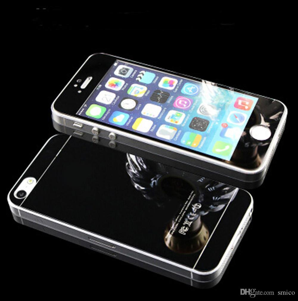 2 teile / los Front + Back Gehärtetem Glas Für iPhone 6 6 s 7 plus Voller Bildschirmschutz Spiegeleffekt Bunte Schutzfolie