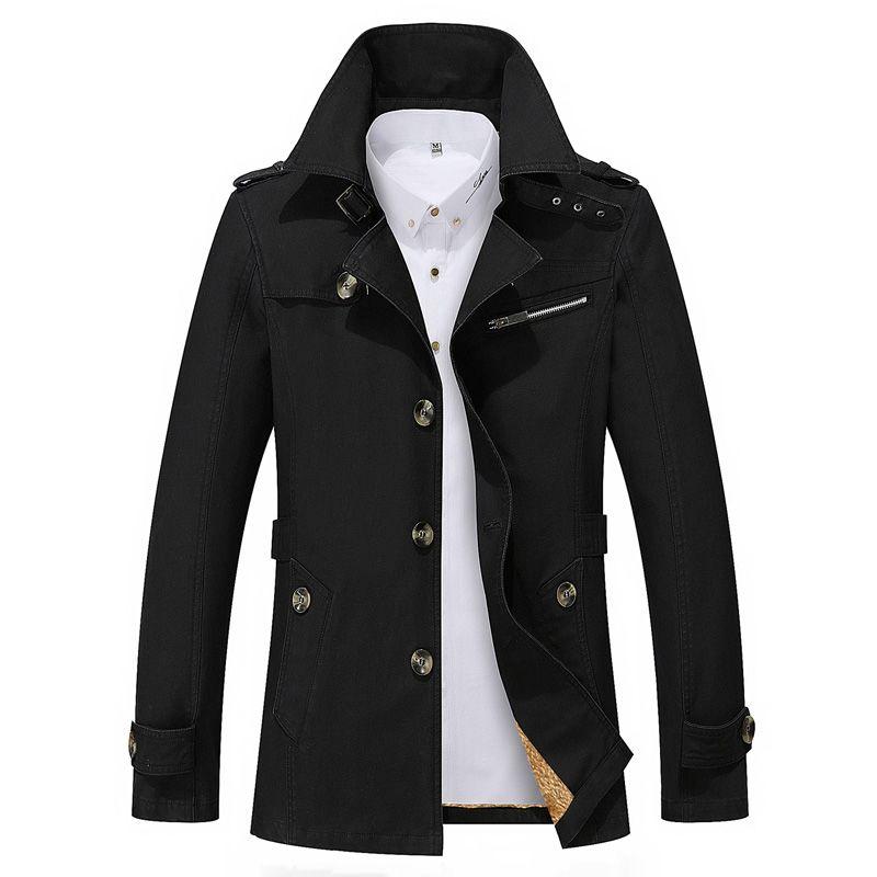 Al por mayor-Venta caliente 2017 Thick Thin Two Style Nueva marca de moda Hombres Chaquetas Abrigos largos de algodón Chaquetas para hombre Parka Plus 5XL