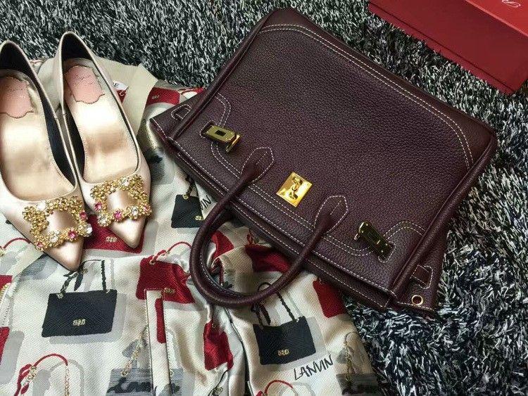 2016 Luxury H Handbag Women\`s Litchi Cowhide Messenger Bag Genuine Leather Famous Designer Shoulder Crossbody Totes Ladies Bolsa (16)