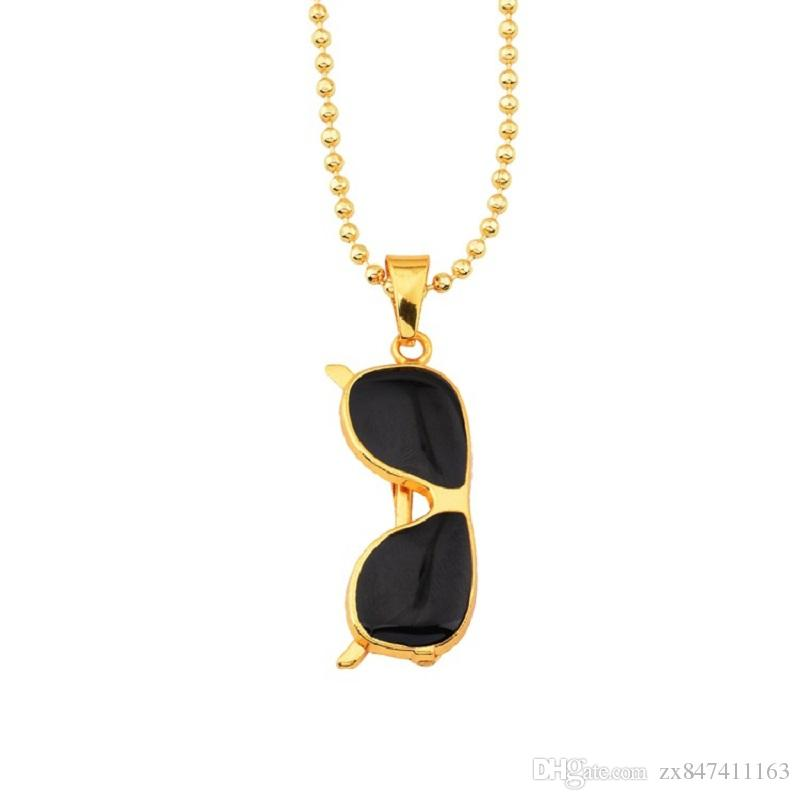 "Male Hip Hop Gold Necklaces Sunglasses Pendant Design Jewelry w/27""Beads Chain Filling Pieces Men Fashion Necklace for Mens Gift"