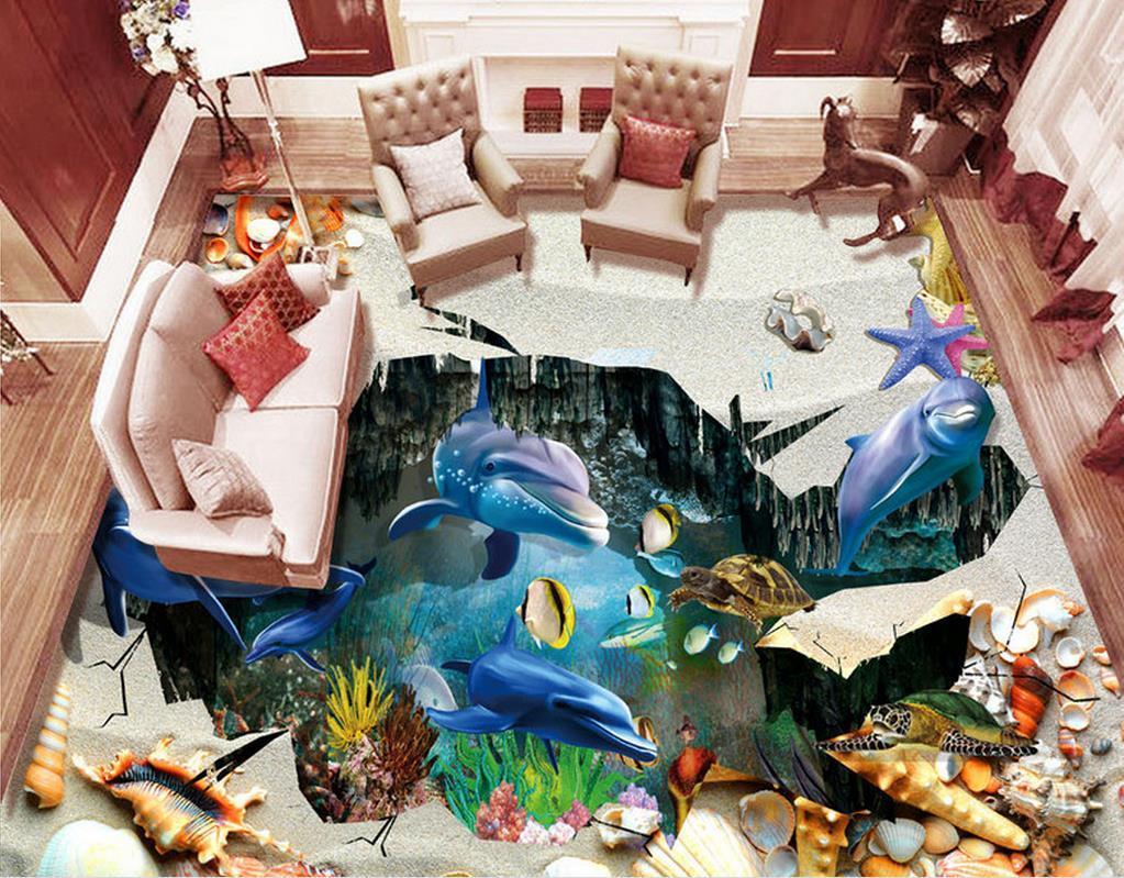 Custom pvc flooring roll Beach shells 3d landscape wallpaper floor mural living room modern wallpaper for the bedroom floor
