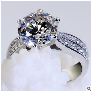 Мода Platinum Plating MS Округление Любовь Алмазное кольцо Микро Алмазное кольцо с высоким содержанием углерода