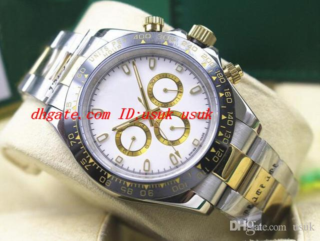 Orologio da polso di lusso due tono 116500 mens in acciaio inox cornice in ceramica quadrante bianco 40mm orologi meccanici Nuovo arrivo
