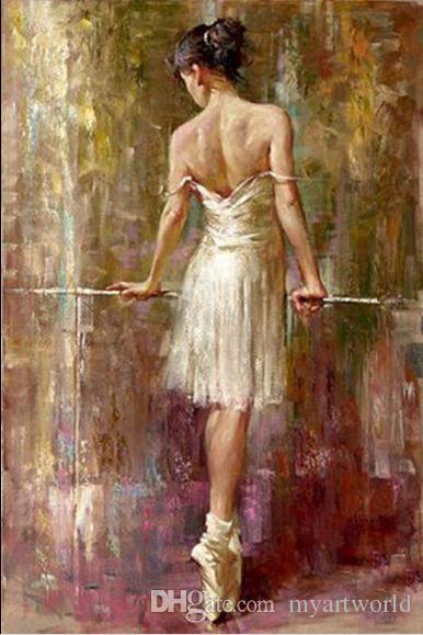 Female Portrait Beautiful Young Ballet Girl Purity Ballerina,Pure Handpainted Abstract Art Oil Painting On Quality Canvas,Multi sizes,meii