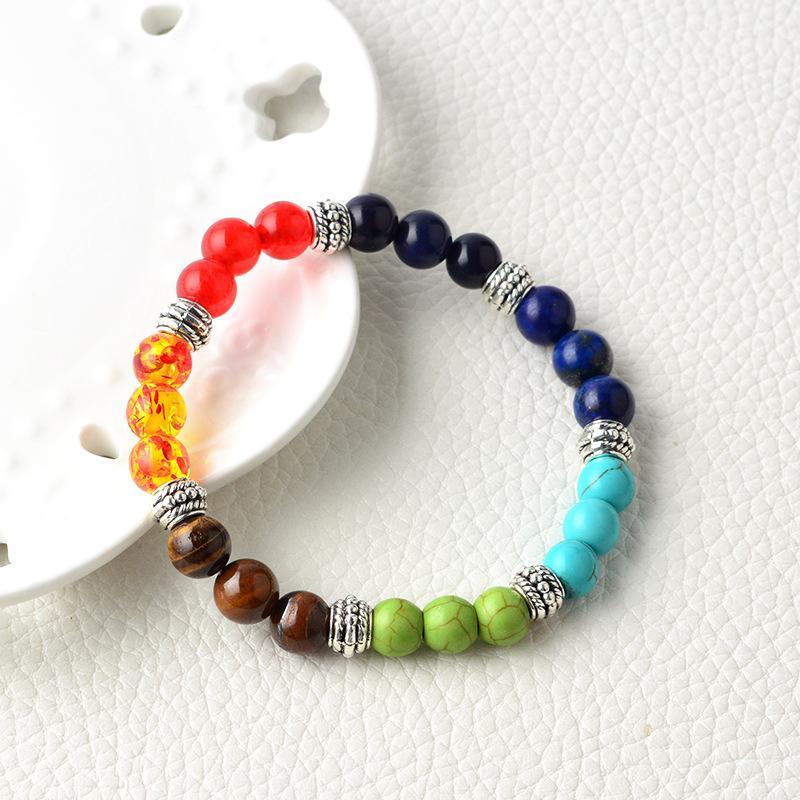 7 Bracelets de chakra 8mm Guérisseur Reïki Prière Naturel Pierre Perle Bracelets Bilan Yoga Inspirational Mode Bijoux pour Femmes Hommes Cadeau
