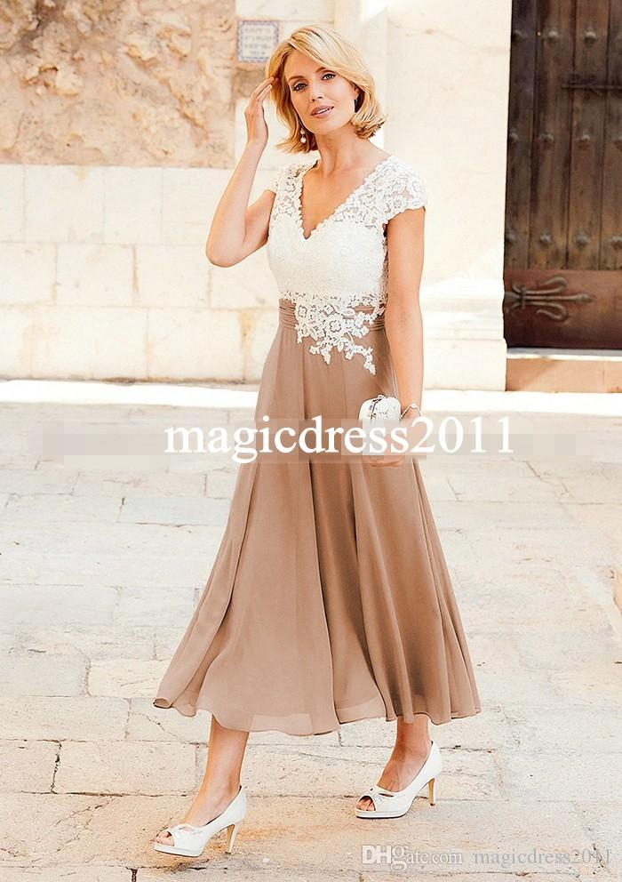 Vintage Elegant Chiffon Plus Size Mutter der Braut Kleider Mit Kurzarm V-Ausschnitt Spitze Bräutigam Hose Anzüge Kleider Für Hochzeiten