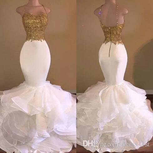 Muhteşem 2017 Sıcak Satış Altın Işık Fildişi Saten Organze Mermaid Abiye Uzun Seksi Dantel Aplike Boncuklu Ruffles Formal Elbise EN3171