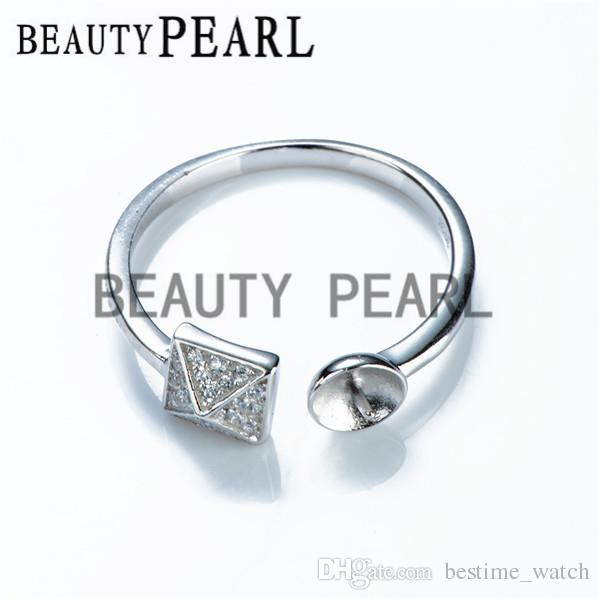HOPEARL Jewelry Pearl Ring Blanks 925 Sterling Silver Mount Ring Base for DIY Making 3 Pieces