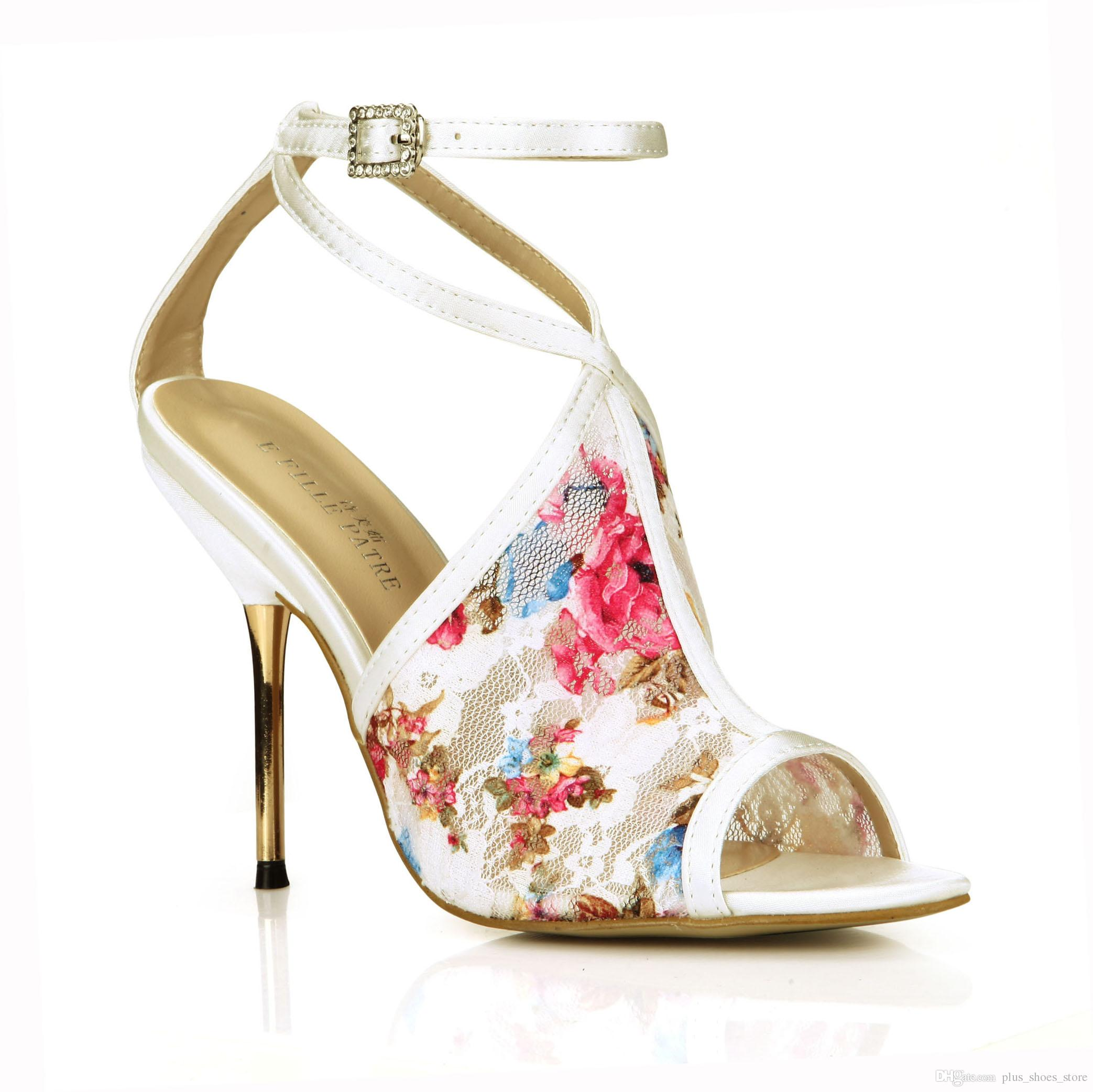 Colorful Lace Shoes Sandals Women Buckle Strap Buckle Strap Crystal Metal Heels Bridal Wedding Shoes Peep Toe Real Image Chaussures Femme