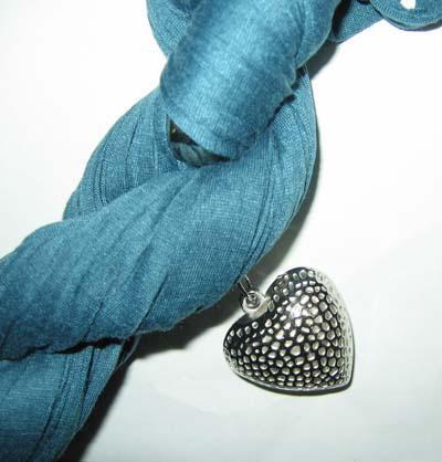 Plain Solid color COTTON & METAL SCARF Neck Scarves NECKLACE PENDANT Love Heart 14pcs/lot #1450