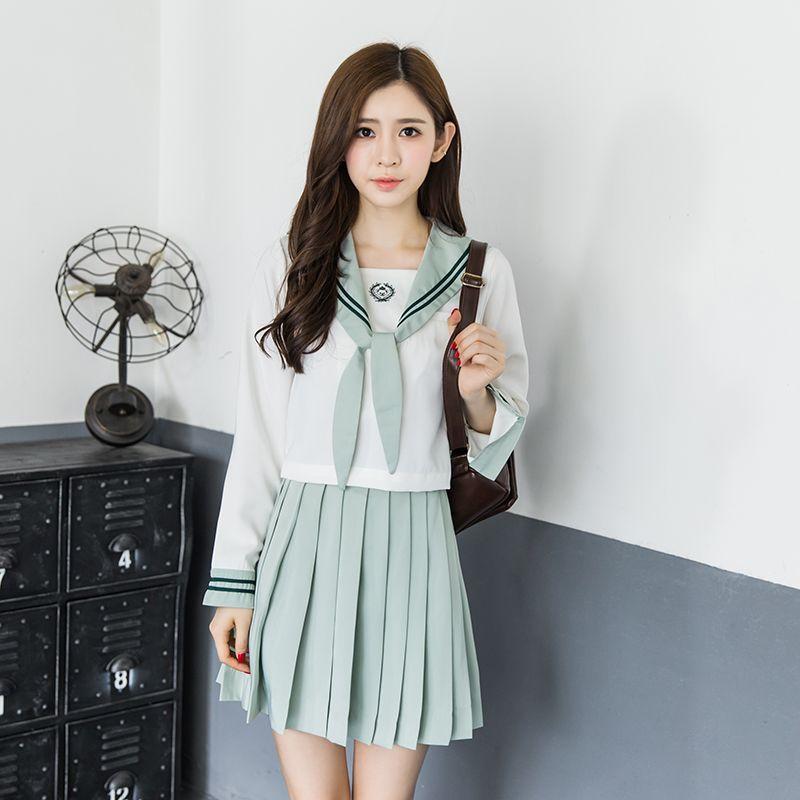Cute Girls Japanese School Student Uniform Set Light green Suit Tops Blouse+Pleated Skirt Sweet Kawaii Lolita Cosplay Anime Sailor Uniforms
