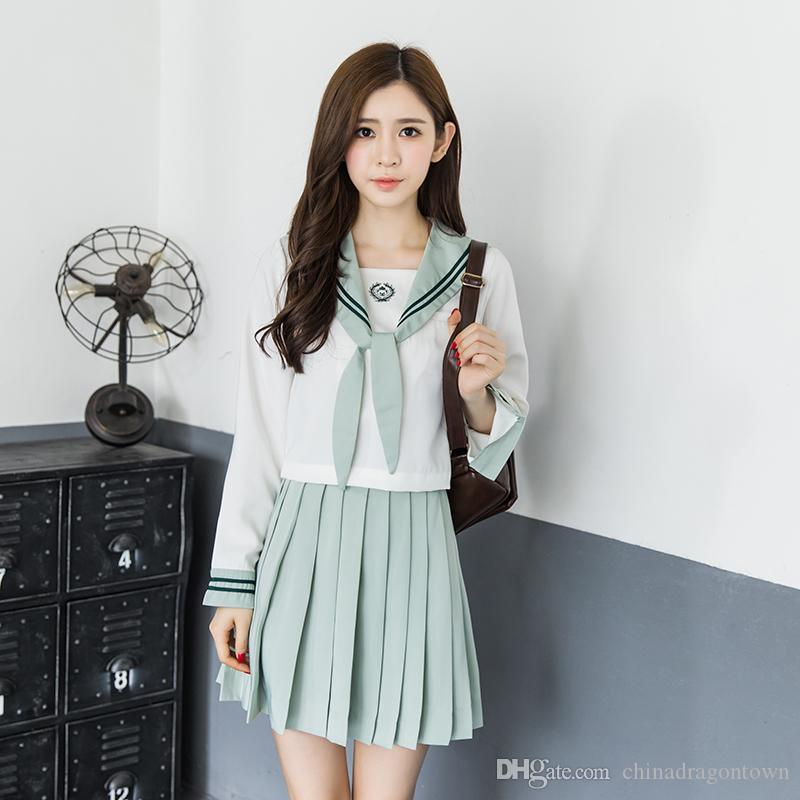 Cute Girls Japanese School Student Uniform Set Light green Suit Tops Blouse+Pleated Skirt Sweet Kawaii Lolita Cosplay Anime Sailor Uniforms