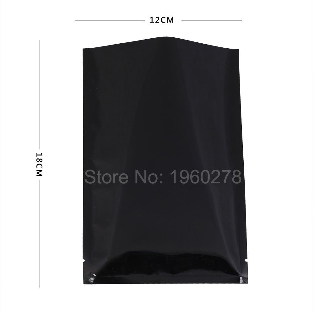 """12x18см (4.7x7.1 """") Плоские черные металлические сумки с открытым верхом с термы с надрезом и термосваркой Алюминиевая фольга мешки для хранения пищевых продуктов из майлара"""