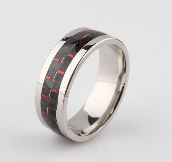 Engagement Rings Fingers Fashion Jewelry Rings Carbon Fiber Wedding Bands for Men Titanium Steel Ring Christmas Gift